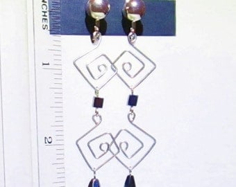 Long Drop Earrings ~ Dangle Earrings ~ Clip Earrings ~ Purple Drop Earrings ~ Geometric Earrings ~ Purple Earrings ~ Clip Dangle Earrings