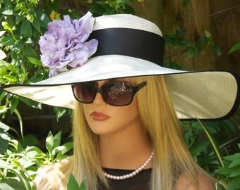 Kentucky Derby Hat. Wedding Hat. Wide Brim Hat, Church Hat. Hat for Ascot, Women's Lavender Hat. Tea Party Hat, Garden Party Hat, Purple Hat