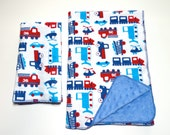 Tractors and trucks baby boy soft blanket and 3 matching burp cloths, flannel and minky dots, baby boy gift set, large burp clothes, newborn
