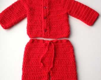 Crochet Baby Red Sweater Pants Hat Set, Newborn