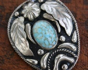 Vintage Bolo Tie Southwestern Floral  Pendant