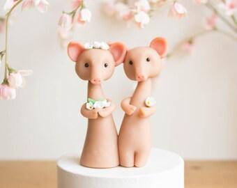 Pink Pig Wedding Cake Topper by Bonjour Poupette