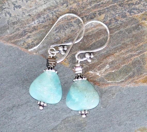 Amazonite Earrings, Aqua Earrings, Natural Stone Earrings, Light Blue Earrings, Handmade Earrings. Hematite Earrings, Blue Stone, Winter