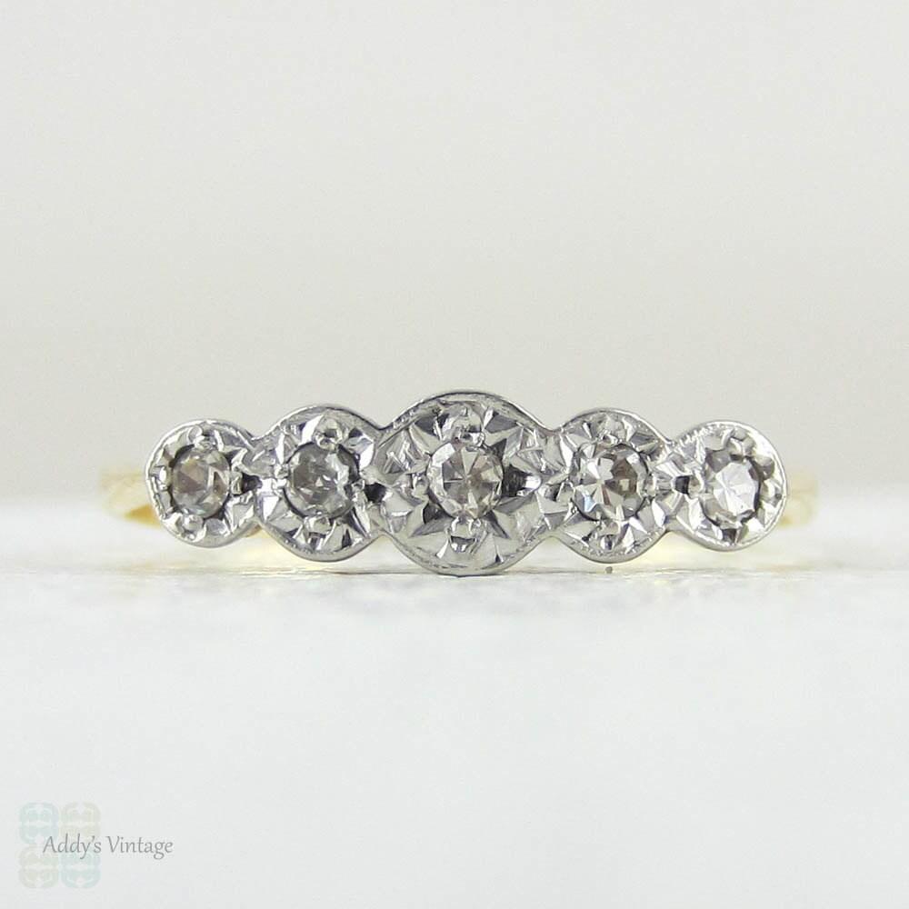 vintage five stone diamond wedding ring art deco 5 stone