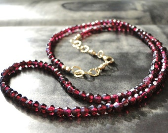 Luxe Garnet Necklace, Gemstone Necklace 14k Gold Filled Textured Chain, Accessories, Gift for Her, Luxe Jewelry, Garnet Necklace, Gift Box