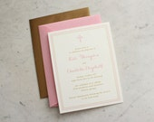 baby girl or twin girls baptism / christening / first communion invitation - pink and gold