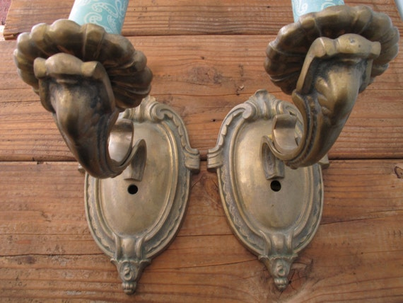 2 Antique Brass Wall Sconces Electric 1920 1930 Heavy Brass