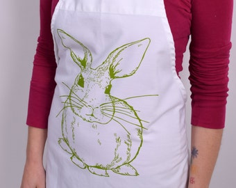 Screen Printed Apron - Natural Cotton Twill - Bunny Rabbit - Eco Friendly - Kitchen Apron - Gardening Apron - Cotton Full Apron - Vintage