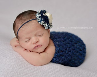 Midnight Blue Newborn Cocoon Photo Prop