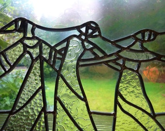 Leaded Glass Panel - The Dance - Stained Glass Window Suncatcher in Clear Textured Glass