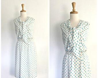 1960s polka dot dress - 60s dress - nautical dress - Eve Le Coq -  shirtwaist -  sundress - resort wear - cotton - Medium Large