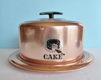 Vintage West Bend Copper Toned Covered Cake Carrier - Cake Pan - Cake Cover