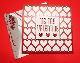 BE MY VALENTINE - card and handmade envelope