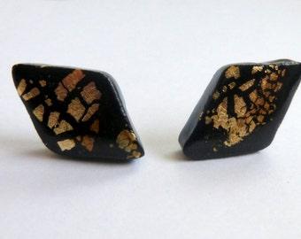 Black Stud Earrings Black Post Earrings Black Diamond Stud Earrings Black Diamond Post Earrings Polymer Clay