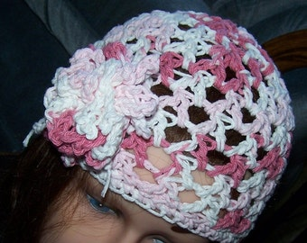 Hat Flapper Cloche Hand Crochet w Flower New w tie on loopy flower Cotton Beige Green or Pink White Spring Summer  Premade Ready to Ship!
