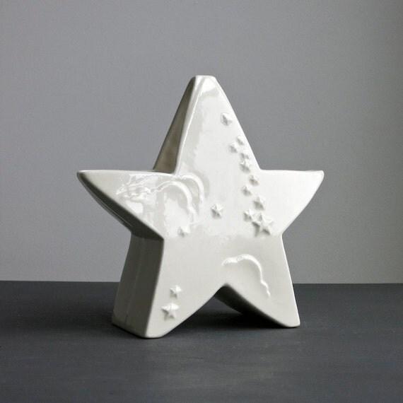 Vintage Abingdon Pottery Falling Star Vase or Planter in White Glaze, 1940s American Ceramic Nursery Decor