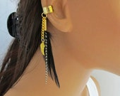 Gold Angel Wing Ear Cuff Black and Grizzly Feathers Non Pierced Earring Gift For Her