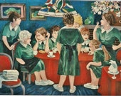 Art Print of my original acrylic painting,11x14,Handsigned,Women,Figurative,Restaurant,Waitresses,Green, by artist Patty Fleckenstein
