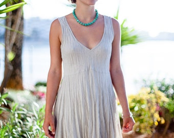 Short Natural Linen Dress / Natural Stone Sand / Summer Dress / Pure Linen / Crinkled Linen / Boho Beach Dress / Hand Made