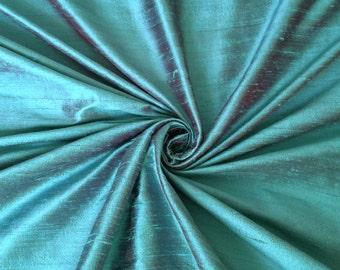 "Turquoise Burgundy iridescent 100% dupioni silk fabric yardage By the yard 45"" wide"
