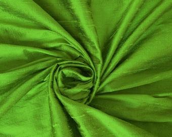Parrot Green 100% Dupioni Silk Fabric Wholesale Roll/ Bolt
