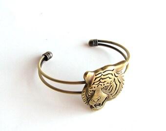 tiger cuff bracelet . adjustable bracelet . animal jewelry . gold tone tiger bracelet