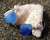 Sea Glass Earrings in Cornflower Blue with Pearl Bead Accents on Sterling Silver French Ear Wires EB 23