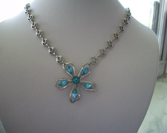 Clara Bow Light Blue Flower Necklace