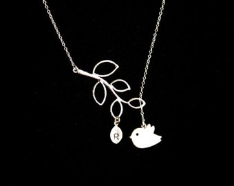 CUTE Bird Necklace , Leaf branch with Initial Leaf - SILVER , family necklace - mothers day gift, birthday gift , for wife , for mom, sister