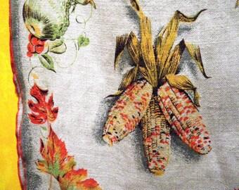 Thanksgiving Indian Corn & Leaves Table Runner - Linen