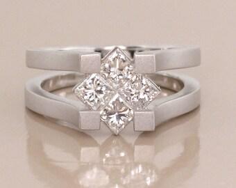 Ultra Modern 1.10ct Diamond Ring in 18K White Gold Satin Finish