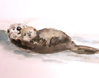 Sea Otters,  Mother Otter, Baby Otter,  Whimsical Print, Otter, Otters, Otter Art, Sea Otter Art