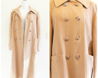 60s 70s Brown Cashmere Coat Medium Large Peacoat Long Jacket