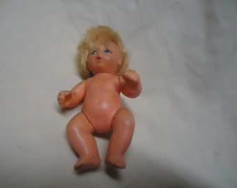 Vintage Plastic Blue Box Naked Doll, collectable, Hong Kong