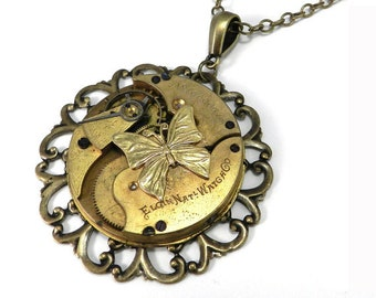Steampunk Necklace - 1895 Mechanical Watch Movement Statement Necklace, Steampunk Jewelry by Compass Rose Design