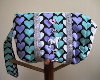 Wrist Purse Unicorn Hearts 80s Stars Flannel Zipper Wristlet Black Aqua Eighties Bag Valentine's Day - Size Small