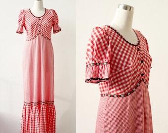 70s Prairie Dress Gingham Dress Square Dance Dress Boho Maxi Dress Large Plaid Dress Peasant Dress Checkered Dress M L Long Cotton Dress