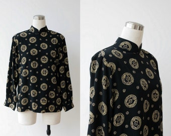 CIJ Sale. 1980s vintage black silky blouse L, ethnic print top large