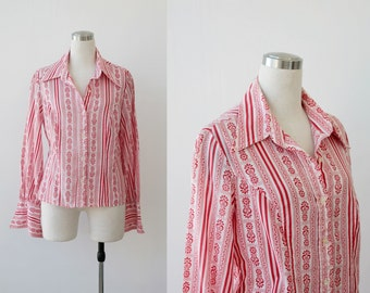 1970's Button Front Blouse Red White Ethnic Paisley Shirt Top M L Button Shirt