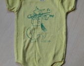 Cat & Fiddle, Green on Mustard Yellow Onesie