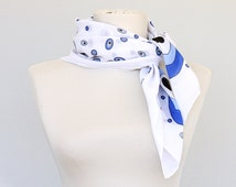 Nautical cotton bandana Gauze summer bandana scarf Blue and white evil eye print scarf Unisex headwrap Summer scarves Mother day gift