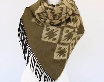 Boho chic scarf Tribal shawl Native blanket scarf Aztec scarves Mothers day gift Winter wrap Bohemian Geometric large hippie scarf Olive