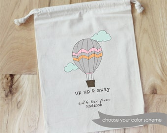 UP UP & AWAY - Hand-drawn Hot Air Balloon -Personalized Favor Bags - Set of 10 - birthday- Baby Shower - Bridal Shower