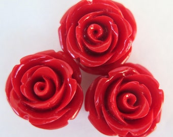 Red Rose Cabochons, 20mm Red Roses, 3 pcs, Red Roses With Holes, Jewelry Supplies, Diy Crafts, Zardenia