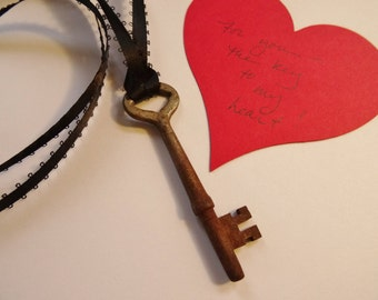 Vintage  Skeleton Key, Key to my Heart, Vintage Skeleton Key Necklace with Ribbon, Rustic Vintage Key on Ribbon for Hanging or Necklace