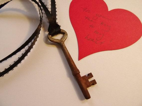 Vintage  Skeleton Key, Key to my Heart, Vintage Skeleton Key Necklace with Ribbon, Rustic Vintage Key on Ribbon for Hanging or Necklace