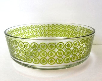 Really Cool Vintage Clear Glass Serving Bowl / Green Circle Design