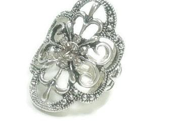 Victorian Stretch Ring - Adjustable Ring - Filigree Metal Ring - Rhinestone Ring - Silver - Adjustable