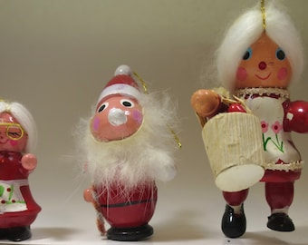 3 Vintage Christmas Ornaments Santa and 2 Mrs Santas Red White Wood Ornaments Hand Painted Details Fur Beard White Hair 1980's