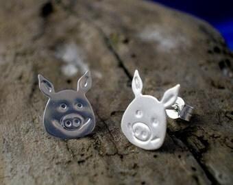 Pig Studs,  Sterling Silver, Pig head studs, Handmade, Pigs, Pig Jewellery, Piggys, Animal Jewellery, Pig gifts,  Pig Earrings, Farmyard.